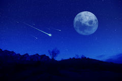 Meteor shower. Meteoric shower in the night Royalty Free Stock Images
