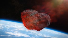 Meteor shower, meteorite impact on planet earth 3d space illustration. Meteorite from outer space, falling toward planet Earth, dramatic science fiction scene Royalty Free Stock Image