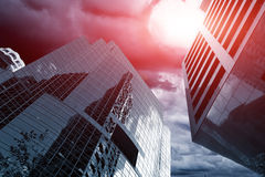 Meteor in the sky. Over skyscrapers, apocalyptic concept Stock Images