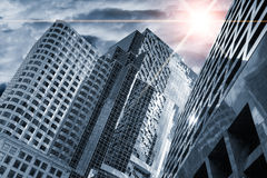 Meteor in the sky. Over skyscrapers, apocalyptic concept Royalty Free Stock Photography