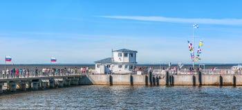 Meteor speedboat awaiting for departure in Harbor. PETERHOF, RUS Stock Photography