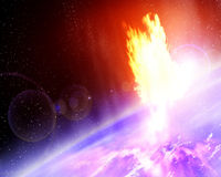 Meteor strike. On planet earth with stars background Stock Photos