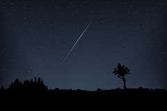 Meteor vector. Falling meteor in the night star sky. Royalty Free Stock Images