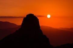 Meteora日落,希腊 图库摄影