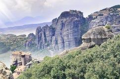 meteora της Ελλάδας Φωτογραφία τοπίων του βράχου Στοκ Εικόνες