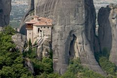 Meteora 2. Abbey, above, acropolis, alone, athena, athene, atop, cell, chant, cloister, god, greece, greek, heavens, hermit, high, klooster, meteora, monastery Royalty Free Stock Photo