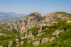 Meteora. Plain of Thessaly , Kalambaka , Greece 2012 , top of the cliffs Stock Photos