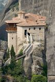 Meteora 3. Abbey, above, acropolis, alone, athena, athene, atop, cell, chant, cloister, god, greece, greek, heavens, hermit, high, klooster, meteora, monastery Stock Images