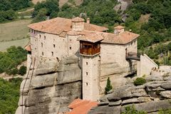 Meteora 4. Abbey, above, acropolis, alone, athena, athene, atop, cell, chant, cloister, god, greece, greek, heavens, hermit, high, klooster, meteora, monastery Stock Photos