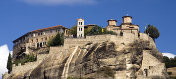 Meteora. View on the magnificent meteora and its monasteries Royalty Free Stock Photos