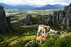 Meteora. View on the magnificent meteora and its monasteries Stock Images