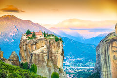 Meteora. Beautiful landscape at sunrise with traditional mountain and Holy Trinity monastery in Meteora place,  Greece, Europe Stock Photo
