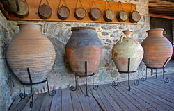 Meteora Clay Jugs. Antique pottery in a monastery in Meteora, Greece Royalty Free Stock Photos