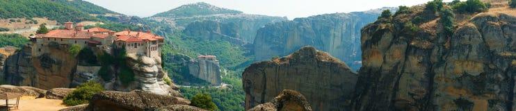 Meteora Clifftop Monasteries Panorama Stock Photo