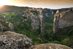 Meteora. The Meteora complex in Greece - The Varlaam monastery Royalty Free Stock Photo