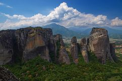 Great Monastery of Varlaam on the high rock in Meteora, Thessaly, Greece stock photography
