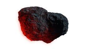 Meteora d'ardore isolata su fondo bianco, meteorite nello spazio cosmico illustrazione vettoriale