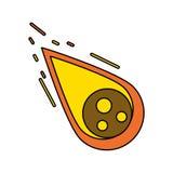 Meteora di caduta nel simbolo di fuoco isolata illustrazione di stock
