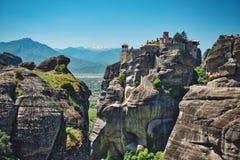 Meteora e o monastério Fotos de Stock Royalty Free