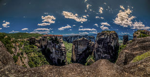 Meteora, a formation of immense monolithic pillars and hills-lik Royalty Free Stock Images