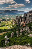 Meteora, a formation of immense monolithic pillars and hills-lik Royalty Free Stock Photos