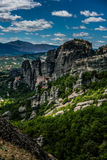 Meteora, a formation of immense monolithic pillars and hills-lik Royalty Free Stock Photography