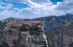 Meteora, Greece. The Meteora is one of the largest and most important complexes of Eastern Orthodox monasteries in Greece, consists of six monasteries, built on Stock Image