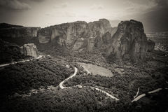 Meteora Greece artistic panoramic black and white view from the Royalty Free Stock Photo