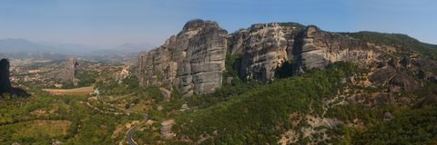 Meteora, Greece. Meteora cliffs and the Holy Monastery on top of rock in Meteora, Greece Stock Image