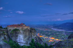 Meteora, Greece - The Holy Monastery of Saint Stephen during blue hour Royalty Free Stock Photos