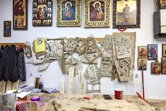 In the studio of icon painting