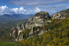 Meteora, Greece - monasteries St. Nicholas Anapavsa, Roussanou, St. Barlaam and Great Meteoron Stock Photography