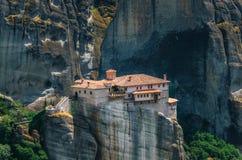 Meteora, Greece. Mountain scenery with Meteora rocks and Roussanou Monastery Stock Image