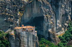 Meteora, Greece. Mountain scenery with Meteora rocks and Roussanou Monastery Stock Images