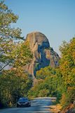 Meteora, Greece, October 12 2018, Rock formations are a main part in the beautiful landscape of Meteora, Greece with its. Monasteries, its mountains and its royalty free stock image
