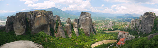 Meteora Greece - spectacular rock formations panorama. Panorama of Meteora mountains with visible monasteries -Greece Royalty Free Stock Image