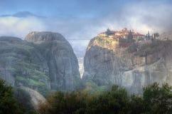 Meteora, Griekenland - klooster Heilige Drievuldigheid Stock Foto