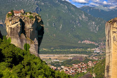 Meteora, the Holy Trinity. Greece. Meteora - incredible sandstone rock formations rise from the ground and the monasteries on the top of rocks. The Monastery of Royalty Free Stock Photos