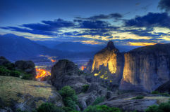 Meteora and Kalambaka, Greece - night picture Stock Photography