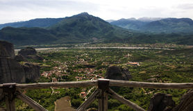 Meteora landscape view. Panoramic view of The Meteora landscape placed in Thessaly, Greece Royalty Free Stock Image