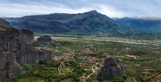 Meteora landscape view. Panoramic view of The Meteora landscape placed in Thessaly, Greece Stock Image