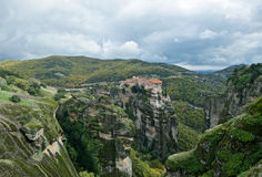 Meteora Middle Temple rocks around Royalty Free Stock Photography