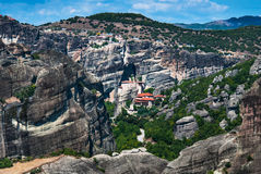 Meteora monasteries, Greece. Meteora rocks and monasteries, Greece landmark. In the middle, founded in the 16th century, the easily-accessible Rousannou Royalty Free Stock Photography