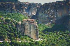 Meteora monasteries in Greece, Kalambaka region, Thessaly. Panor Royalty Free Stock Image