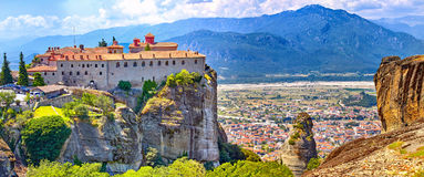 Meteora monasteries, Greece Kalambaka. UNESCO World Heritage sit. The Meteora monasteries, Greece Kalambaka. UNESCO World Heritage site. Colorful landscape stock photography