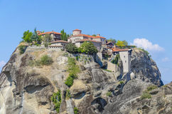 Meteora Monasteries in Greece on the top of mountain Royalty Free Stock Image