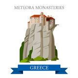 Meteora Monasteries Greek Orthodox Greece flat vector attraction Stock Images