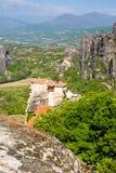 Meteora monasteries on the high cliffs, Greece Stock Photos