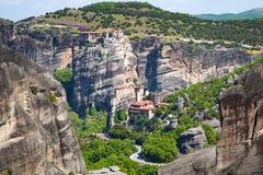 Meteora monasteries on the high cliffs, Greece Royalty Free Stock Photos