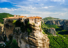 Meteora monasteries, the Holy Monastery of Varlaam at foreground, Greece Stock Photography